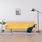 vidaXL Разтегателен диван с подлакътници, жълт, полиестер