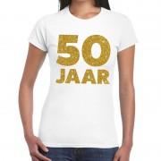 Bellatio Decorations 50 Jaar verjaardag fun t-shirt wit voor dames L - Feestshirts