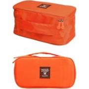 PackNBuy Multi Functional Travel Organizer Cosmetic Make-up Bag Portable Luggage Storage Case Bra Underwear Pouch(Orange)