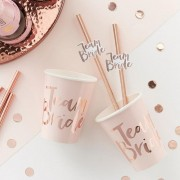10pcs Team Bride Straws Rose Gold DIY Craft with Letter Hen Bachelorette Wedding Decorations