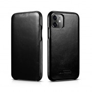 ICARER Genuine Leather Folio Flip Phone Case for Apple iPhone 11 6.1 inch - Black