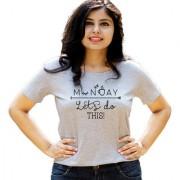HEYUZE Lazy Monday Quote Grey Printed Women Cotton T-Shirts