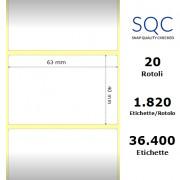Etichette SQC - Carta termica protetta (bobina), formato 63 x 40