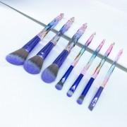 7pcs Pinceaux De Maquillage Poignée De Cristal Laser Kit Pinceaux Cosmétiques Maquillage Outils Pinceaux Fard À Paupières De Fond De Teint Poudre Anticernes
