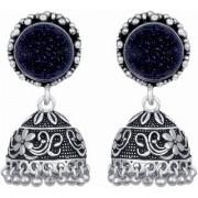 Glam Lapis Lazuli German Silver Oxidized Artificial Jewellery Jhumka Earring Set For Women And Girls