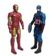 Combo Of 2 Avengers Action Figure Toy Captain America Iron Man 20 cms with weapons LED Light