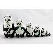 Matryoshka Russian Nesting Doll Babushka Beautiful Panda Family Pandas Set 7 Pieces Pcs Wooden Hand Painted Painting Souvenir Gift