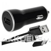 USB autós adapter 1m micro USB kábellel USB-C átalakítóval 2,1A