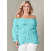 Plus Size Ruched OFF THE Shoulder TOP Tops - Blue