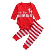 Wondere Christmas Newborn Baby Girls Boys Outfits Clothes 2Pcs Deer Romper+Pants Set (70, Red)