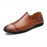 Mocasines Zapatos De Hombre De Negocios De Cuero De Vacuno De Respirable De Moda – Marrón