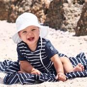 Polarn O. Pyret Randig playsuit baby mörkblå 56