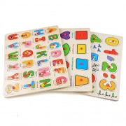 Leoneva 3-in-1 Early Educational Classic Wooden Peg Puzzles,Alphabet/Number/Graph Puzzle Set