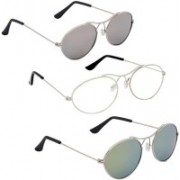 Phenomenal Oval Sunglasses(Silver, Clear, Green)