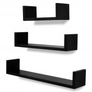 vidaXL 3 Black MDF U-shaped Floating Wall Display Shelves Book/DVD Storage