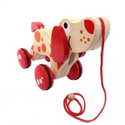 TOYMYTOY Wooden Push and Pull Toy Walk-A-Long Puppy Toy (Dog Tractor)