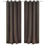 vidaXL 2 db barna sötétítőfüggöny fém függönykarikákkal 135 x 175 cm