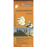 Wegenkaart - landkaart 571 Galicia - Santiago de Compostela - Vigo - La Curuna (Galicië) noordwest Spanje | Michelin