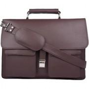 PY Fashion Pu Brown Laptop Messenger Bag