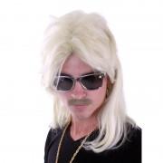 Merkloos Verkleed Blonde herenpruik met mat