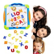 Magnetic Board Letters Numbers Drawing Educational Learning Toys for Preschoolers Gift Kids 3,4,5,6 Year Old with ABC Alphabet Magnets & Dry Erase Marker Refrigerator Fun Doodle Whiteboard