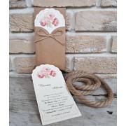 Inviatie nunta cu buchet de trandafiri roz cod 2709