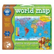 Puzzle si poster Harta lumii limba engleza 150 piese WORLD MAP PUZZLE and POSTER