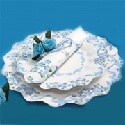 Farfurii albe cu floricele albastre 23 cm pentru petreceri, set 10 buc