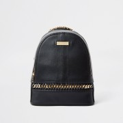 river island Womens Black oversized chain backpack (One Size)