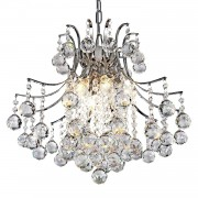 HOMCOM Ceiling Glass Chandelier with 12 Arms Pendant-Crystal/Metal