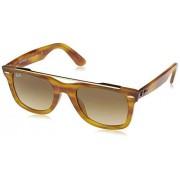 Ray-Ban RB4540F Wayfarer anteojos de sol con doble puente, Striped Light Brown/Brown Gradient, 52 mm