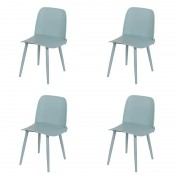 QAZQA Set of 4 Dining Plastic Chairs Light Grey - Nada