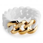 The Rubz Natural Silicone 20mm Unisex Bracelet White & Gold