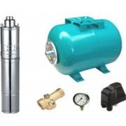Kit complet sistem hidrofor pompa submersibila cu surub Maxima 4QGD 0.75/24 rezervor de 24 litri presostat racord 5 cai manometru