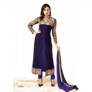 Florence Elegant Embrodried Purple And Black Anarkali With Shrug Dress Material