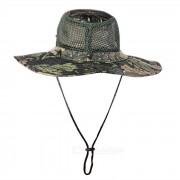 Deportes al aire libre Senderismo Camuflaje de pesca Sombrero de Boonie de ala ancha - Negro