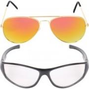 Criba Aviator, Retro Square Sunglasses(Golden, Clear)