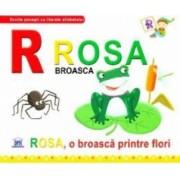 R de la Rosa Broasca - Rosa o broasca printre flori necartonat
