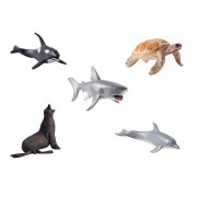 "6"" Large Ocean Sea Animal Figure Plastic Mould, 5 pcs Educative Preschool Toy for Kids (Killer Whales, Sea Lions, Sea Turtles, Dolphins, White Shark) by HAPTIME"