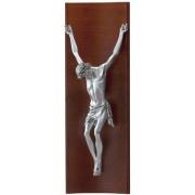 Strieborný obraz ukrižovaný Ježiš na retro dreve D05.0179.71