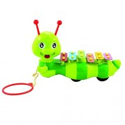 Dragging Caterpillar Xylophone for Kids Multicolored 6 Keys Percussion Glockenspiel Instrument