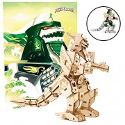 """Mighty Morphin Power Rangers Dragonzord Poster and 3D Wood Model Kit - Build, Paint and Collect Your Own Wooden Model - Green Ranger - Great for Kids and Adults,12+ - 5"""" h"""