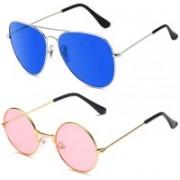 SRPM Aviator Sunglasses(Blue, Pink)
