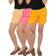 Culture the Dignity Women's Solid Rayon Shorts With Side Pockets Combo of 3 - Cream - Baby Pink - Yellow - C_RSHT_CP2Y - Pack of 3 - Free Size