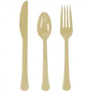 Sturdy Big Pack Cutlery Set Window Box Value Party Supply Gold