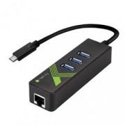 Techly Adattatore Convertitore USB-C™ Ethernet Gigabit con Hub 3 porte USB-A 3.0