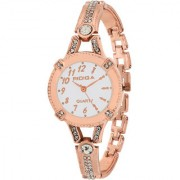 RIDIQA Analog Crystal Studded white Dial Stainless Steel Golden Wrist Watch ForGirls Women-RD-072