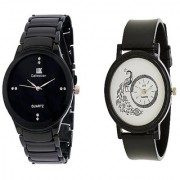 IIK Collection Black Men And Glory Peacock Dial Black PU Analog Couple Analog Watches For Men And Women