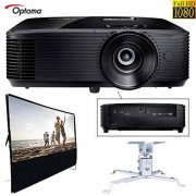 Optoma HD143X 1080p 3000 Lumens 3D DLP Home Theater Projector Bundle with 100-inch Diagonal Portable Projector Screen and Carbon Steel Projector Ceiling Mount