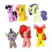 O&B Cute Unicorn Horse Size 3-5cm 6pcs/Set Plastic Horses Toys for Kids